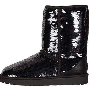 UGG Shoes - Classic Short Black Sequin Ugg Boots Sz 10